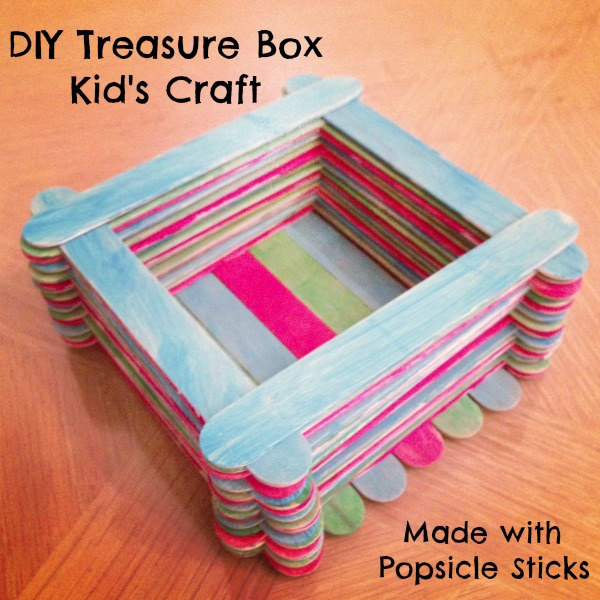Diy Treasure Box Kid S Craft Made With Popsicle Sticks Mom Unleashed
