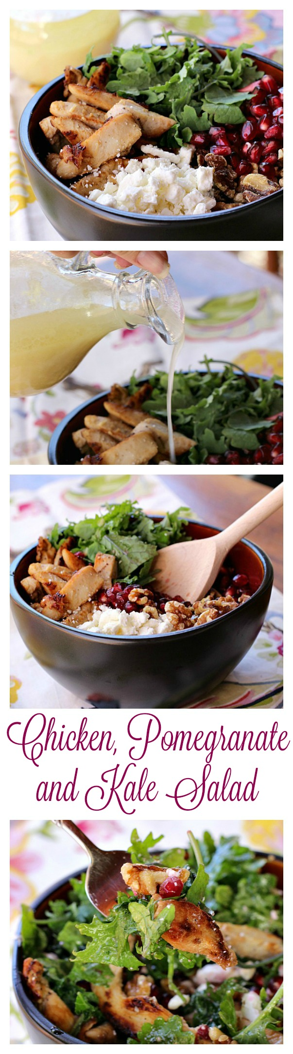 Chicken, Pomegranate and Kale Salad Collage