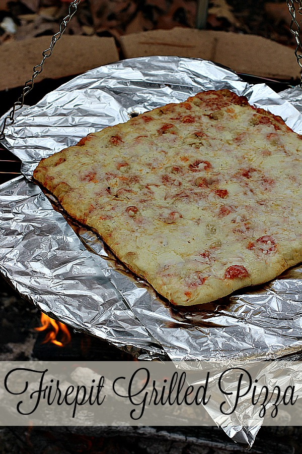 #FallGlamping #ad Firepit Grilled Pizza
