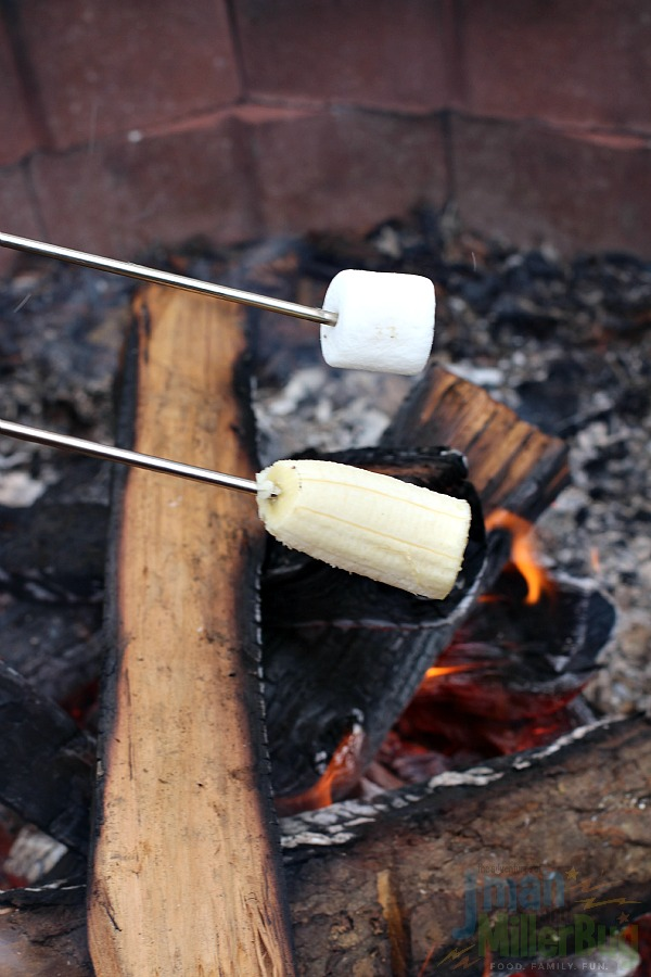 #FallGlamping #ad Marshmallows and Banana
