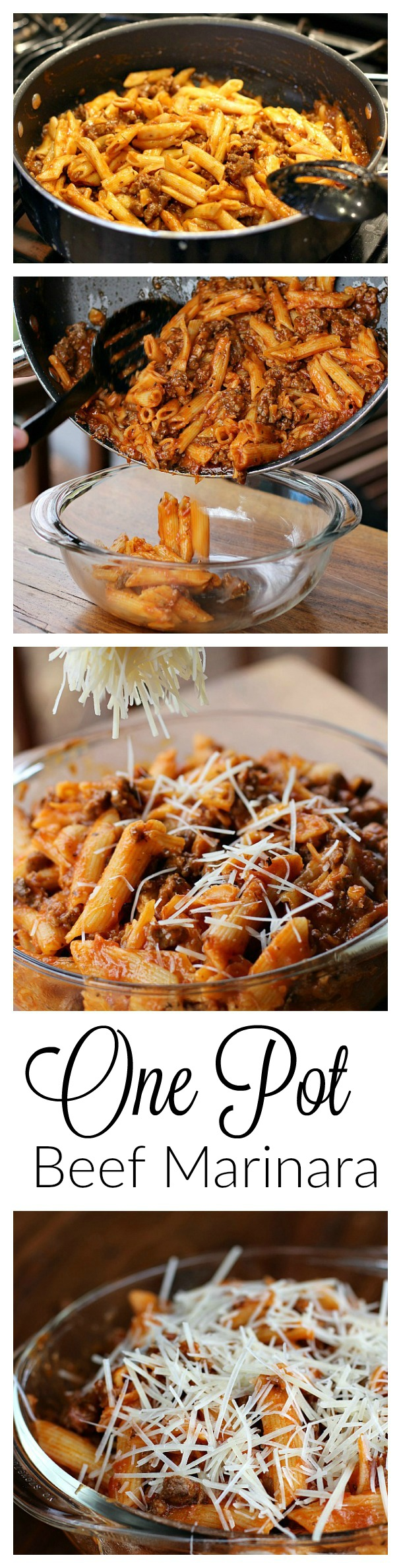 One Pot Beef Marinara Collage