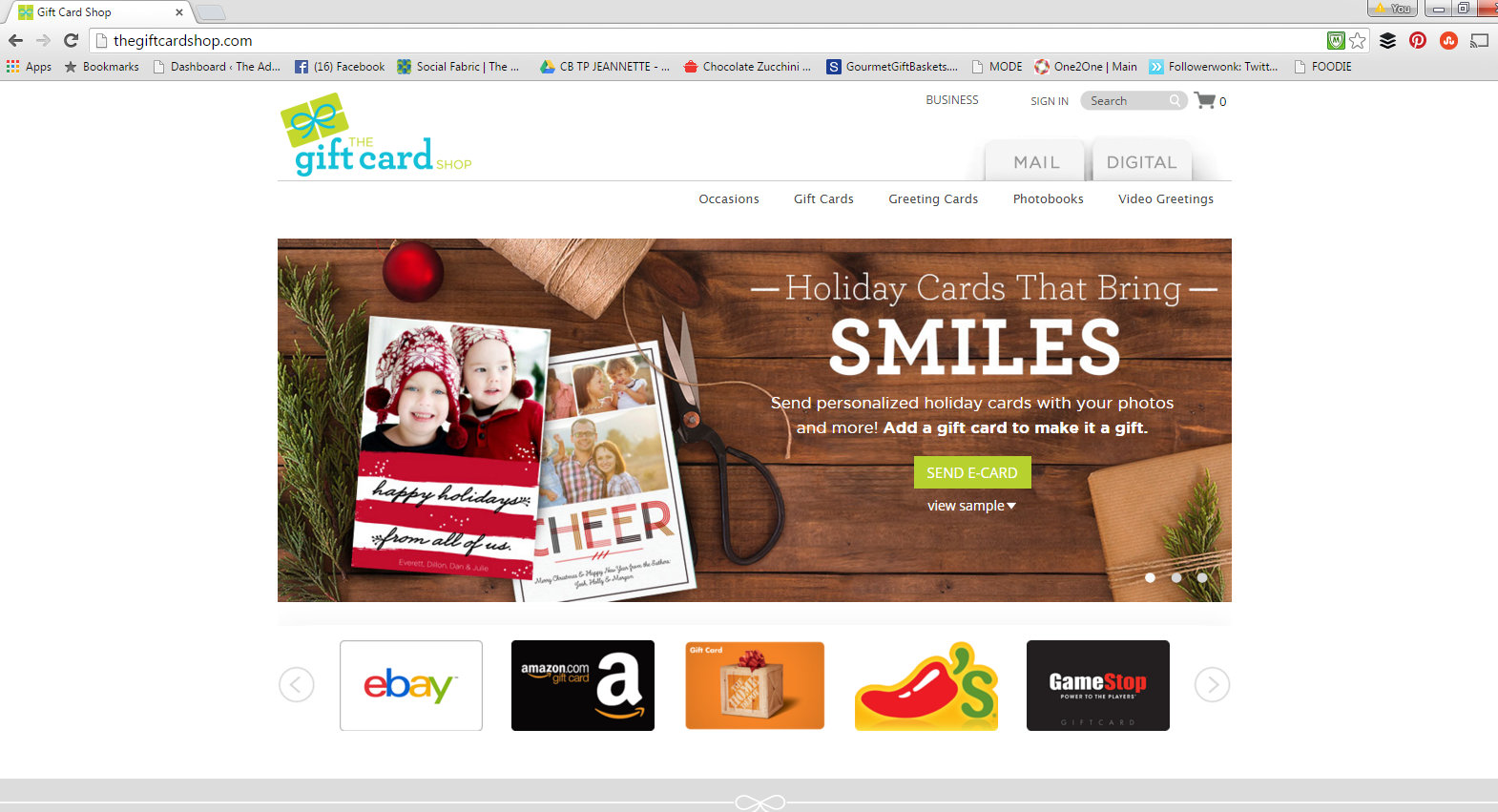 #eHolidays #ad gift Card Shop HOmepage