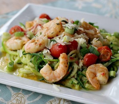 Shrimp Scampi Over Zoodles