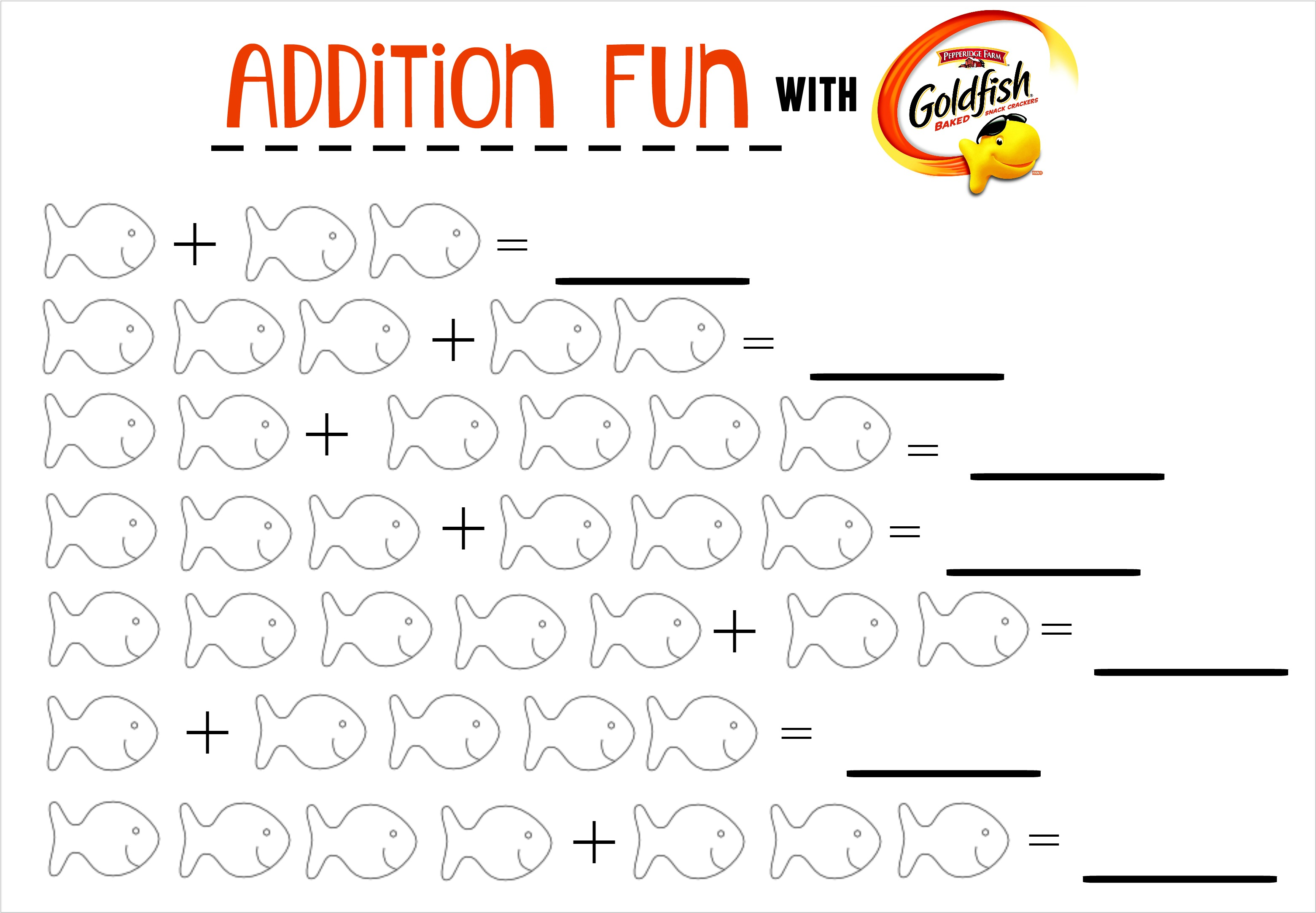 Addition Fun With Goldfish