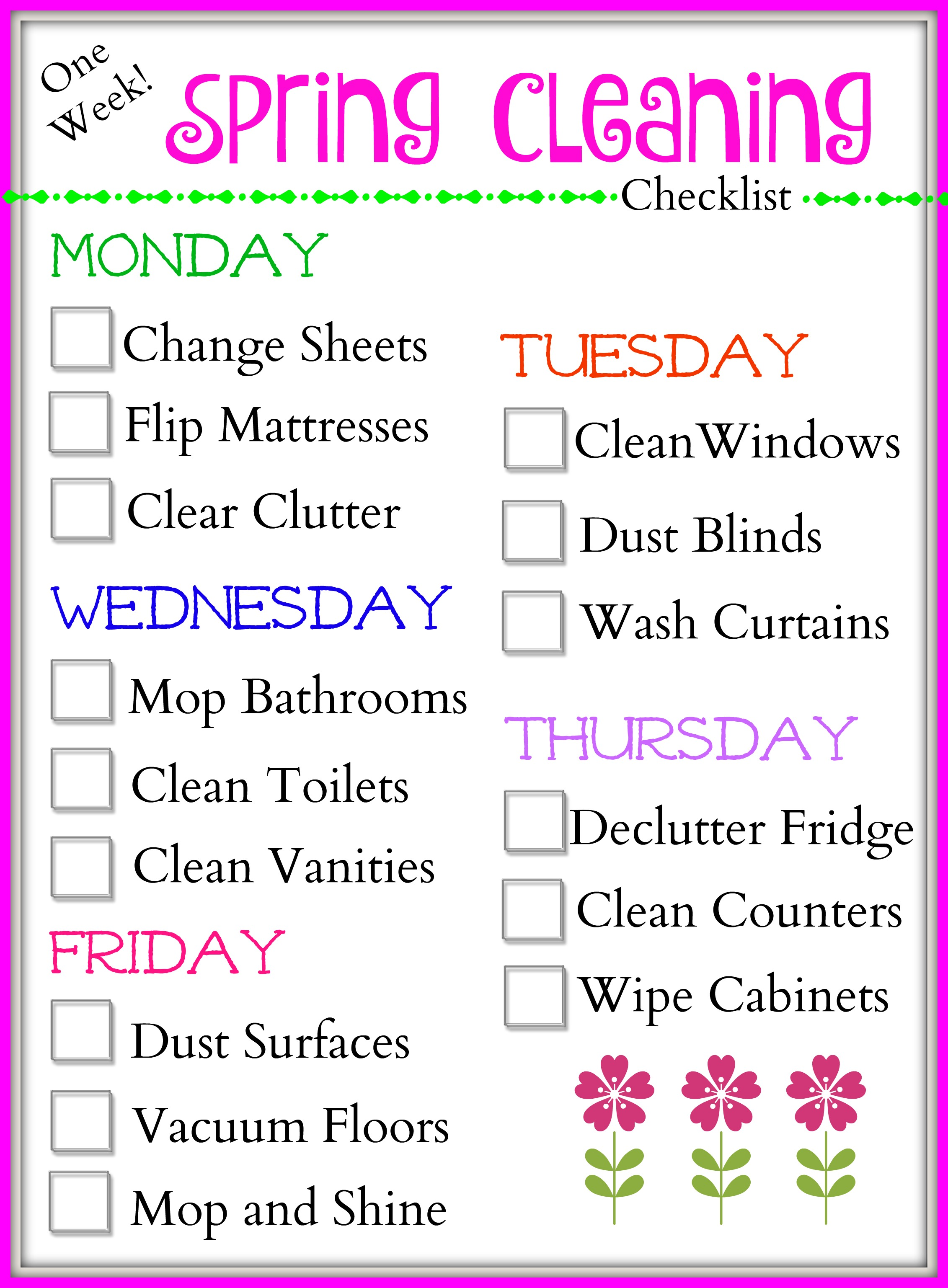 One Week Spring Cleaning Checklist Final