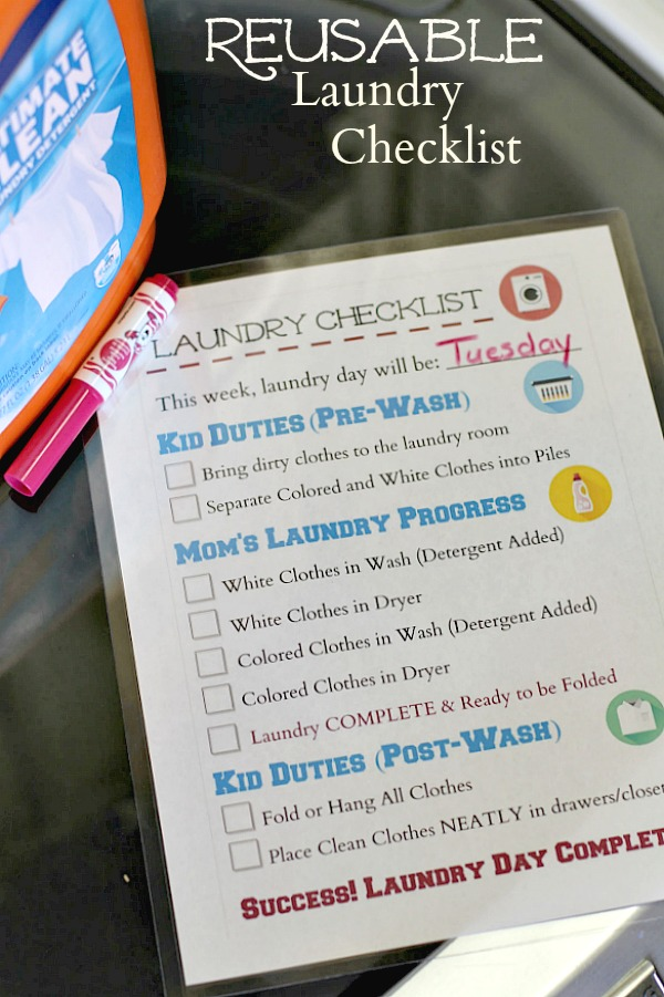Reusable Laundry Checklist - Mom Unleashed