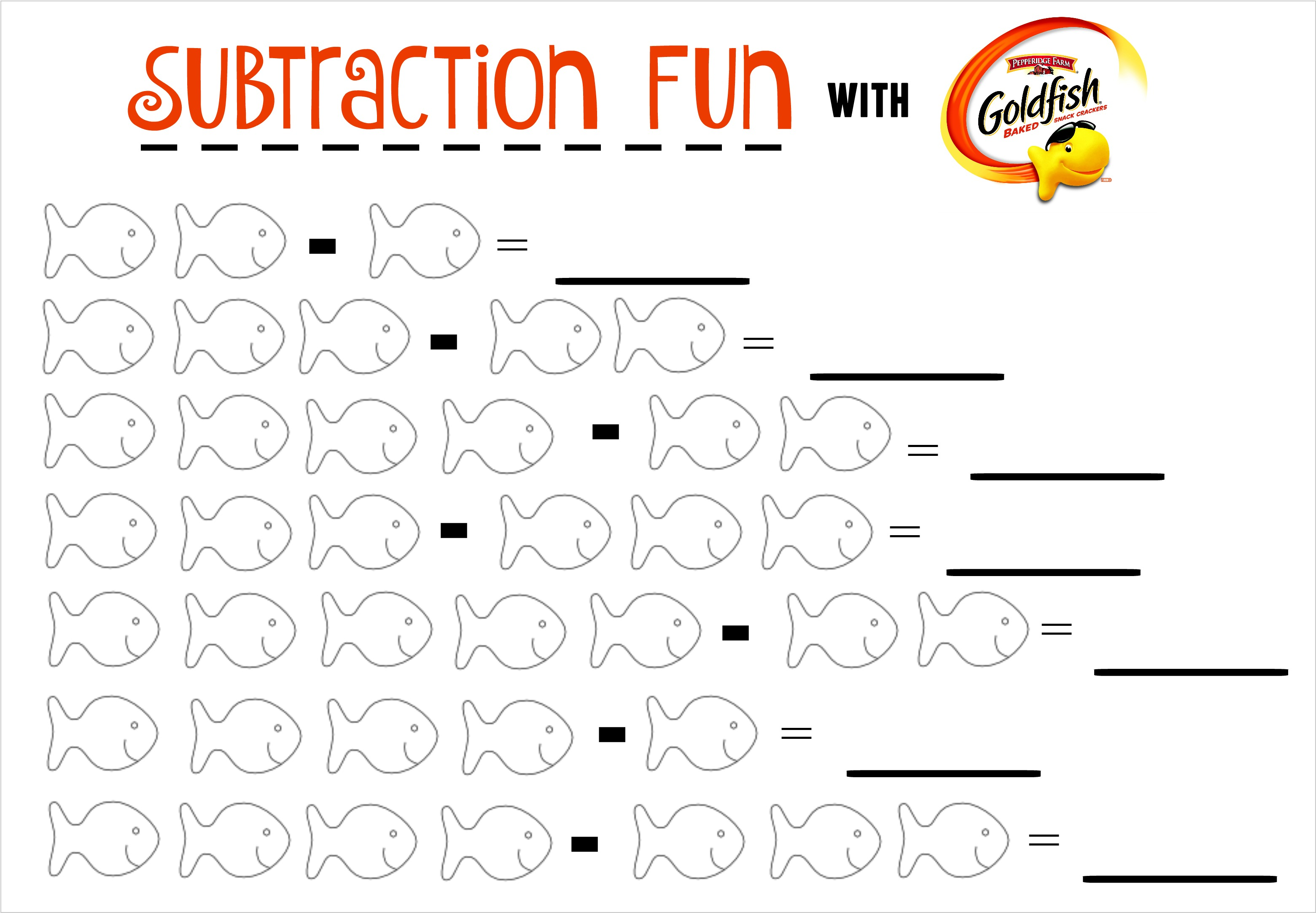 Subtraction Fun With Goldfish