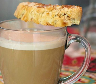 Caramel Latte with Salted Caramel Biscotti