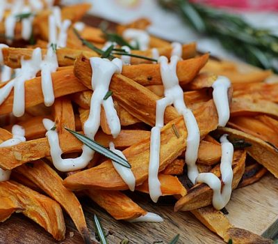 Rosemary Sweet Potato Fries with Garlic Aioli & Cooking Made Easy with Our Hands-Free Faucet