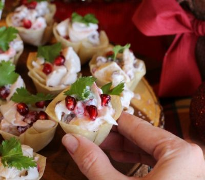 Holiday Crab and Pomegranate Wonton Cups