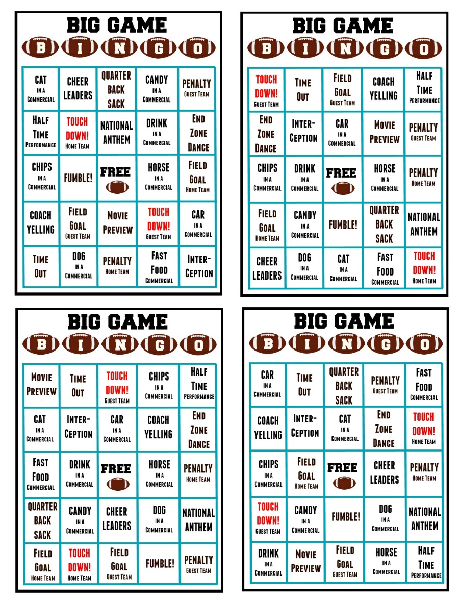 photograph relating to Free Printable Football Bingo Cards titled Significant Recreation Bingo (Free of charge Printable) - Mother Unleashed