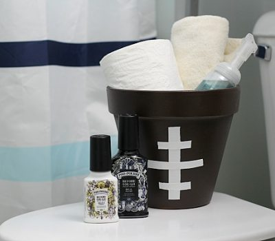 Football Basket Tutorial & How to Prep Your Bathroom for the Big Game
