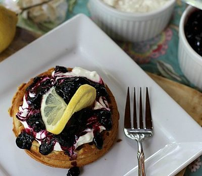 Easy Lemon Blueberry Cheesecake Waffles