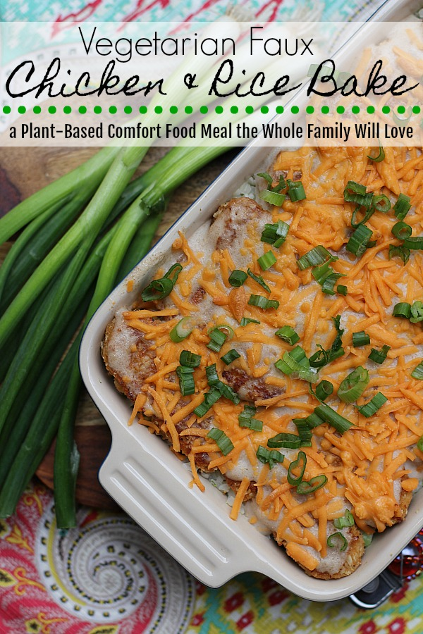 Vegetarian Faux Chicken and Rice Bake