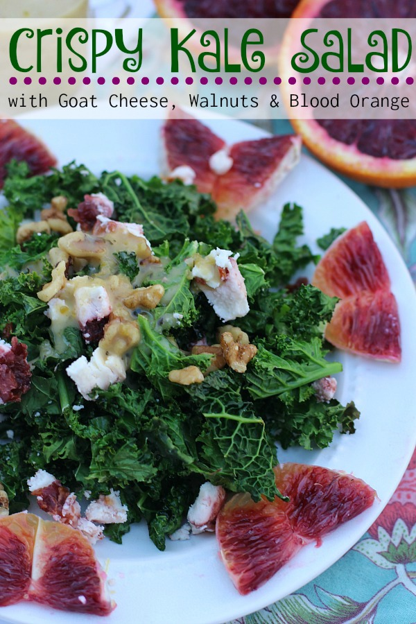 Crispy Kale Salad with Goat Cheese, Walnuts and Blood Orange